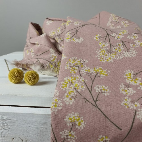 Kokka Baumwollgemisch Trefle Floral Alt Rosa
