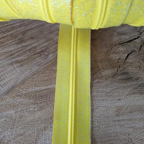 Endlosreißverschluss Gelb Glitzer