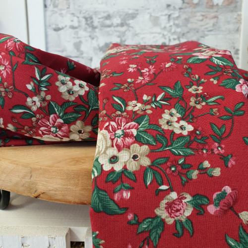 Westfalenstoffe Baumwollstoff Druckstoff Trondheim Blumen Rot