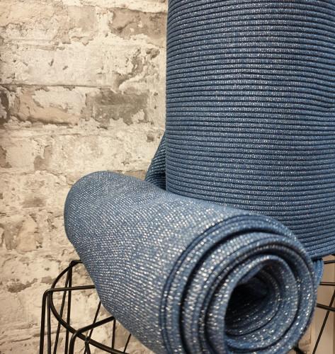 Albstoffe Bio Bündchen Grobstrick Jeans Blau