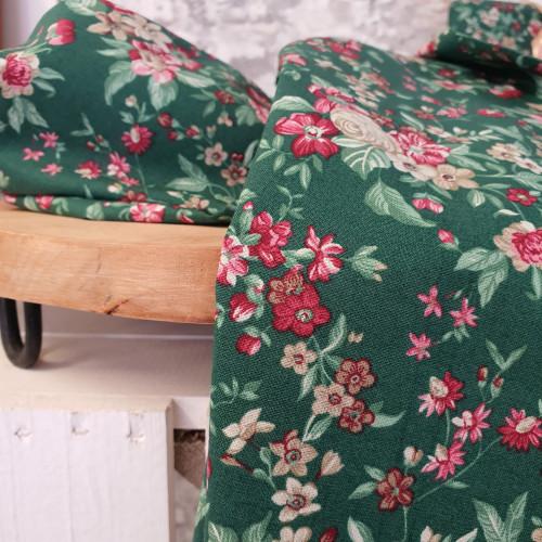 Westfalenstoffe Baumwollstoff Druckstoff Trondheim Blumen Grün