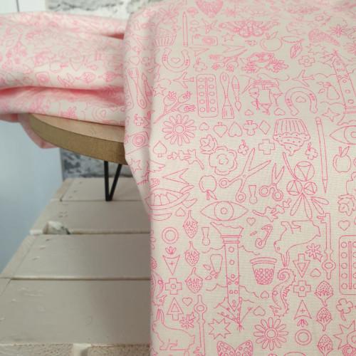 Makower Baumwollstoff Alison Glass White Pink