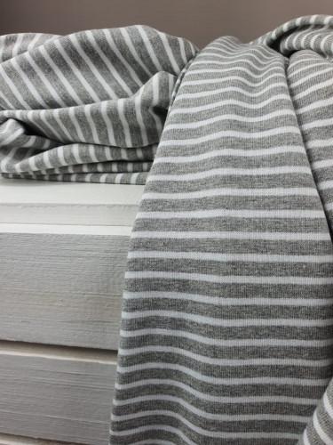Jersey Ringeljersey Grau Weiß