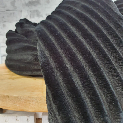 Mantelstoff Fellimitat Streifen Grau