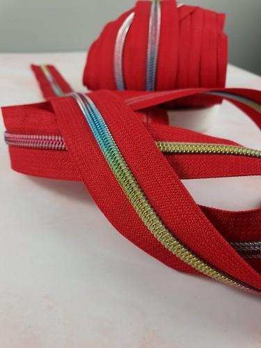 Endlosreißverschluss Metallisiert Rot Spirale Regenbogen