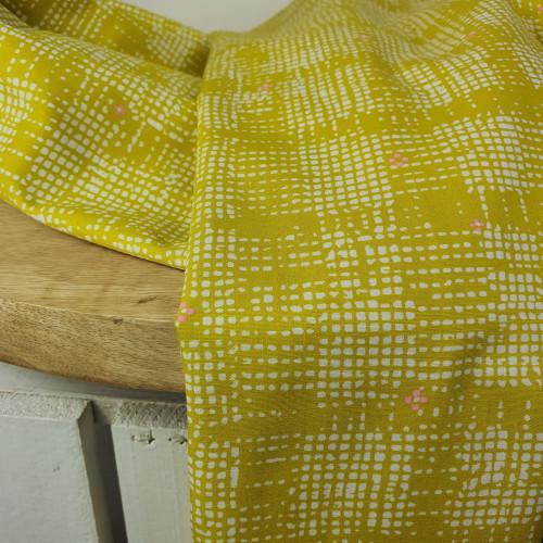 Art Gallery Fabrics Premium Baumwollstoff Grid Weiße Vierecke Senfgelb