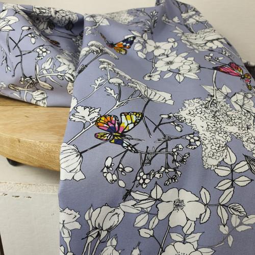 Art Gallery Fabrics Premium Baumwollstoff Grid Schmetterlinge Grau Bunt