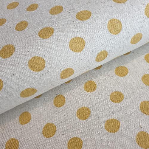 Robert Kaufman: Canvas Sevenberry Natural Dots Yellow