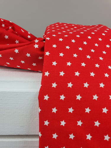 Westfalenstoffe Baumwollstoff Druckstoff Capri Sterne Rot Weiß