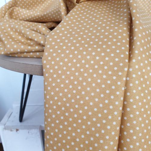 Makower Baumwollstoff Spot Weiße Punkte Senfgelb