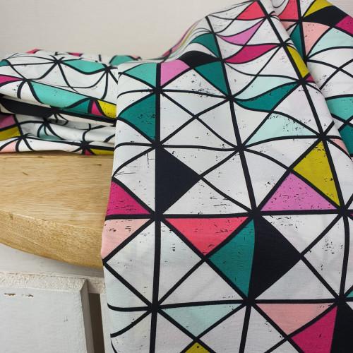 Art Gallery Fabrics Premium Baumwollstoff Grid Weiß Bunte Geodreiecke