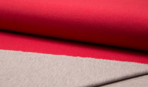 Double Face Jersey Rot Grau Meliert