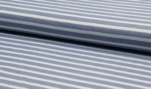 Viskose Streifen Weiß Blau