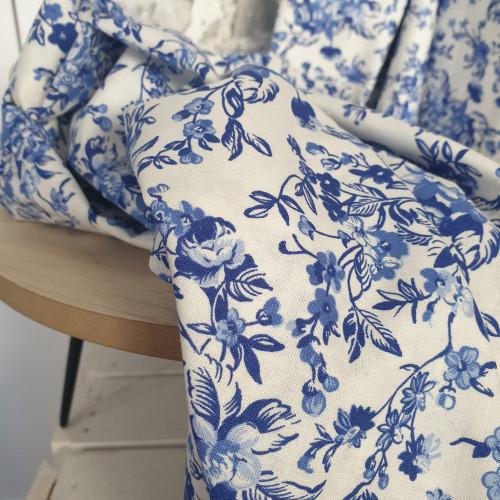 Westfalenstoffe Baumwollstoff Delft Weiß Royal Blumen