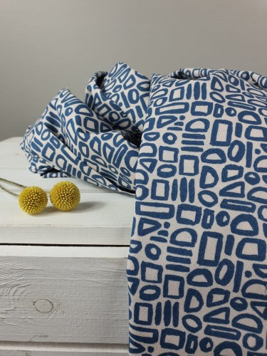 Cotton and Steel Baumwollstoff Feel The Void Contour - Barcelona Blue Fabric