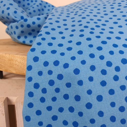 Westfalenstoffe Baumwollstoff Junge Linie Große Punkte Hellblau