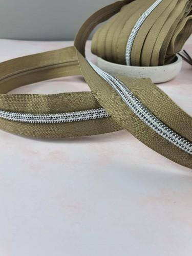 Endlosreißverschluss Metallisiert Taupe