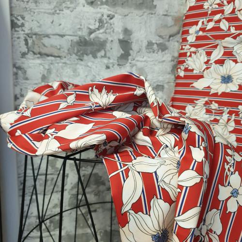 Burda Style Baumwollstretch Streifen Rot Weiß Blumen