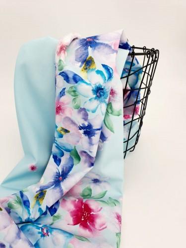 Hilco Baumwollstoff Blumenwirbel Blau