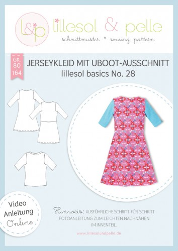 Lillesol & Pelle Schnittmuster basics No.28 Jerseykleid mit Uboot-Ausschnitt *mit Video-Nähanleitung