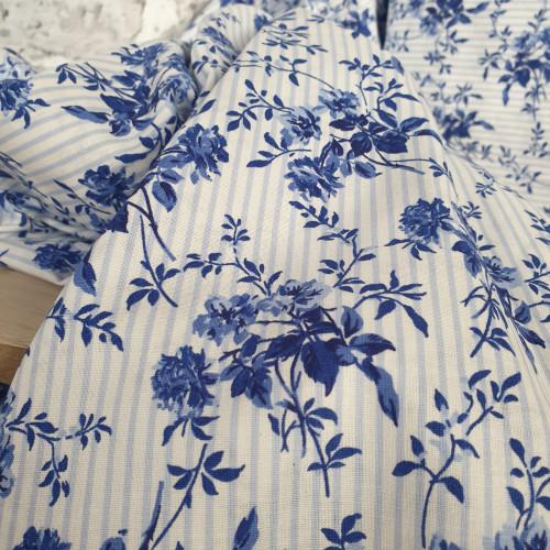 Westfalenstoffe Baumwollstoff Delft Blumen Weiß Gestreift