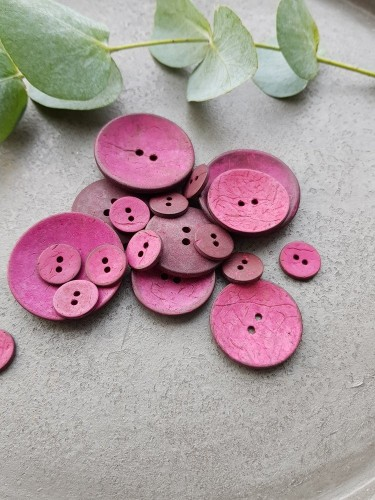 Knopf Kokosnuss rund pink 15/30/40 mm