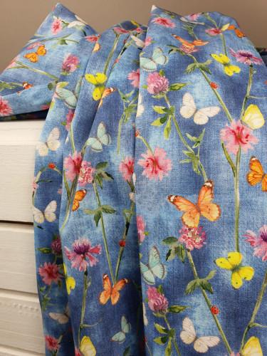 Stenzo Baumwollstoff Popelie Schmetterlinge Blau