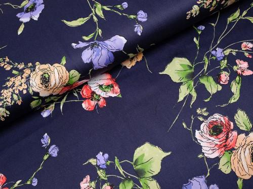 Baumwolle Satin Print Blumen Blau Marine