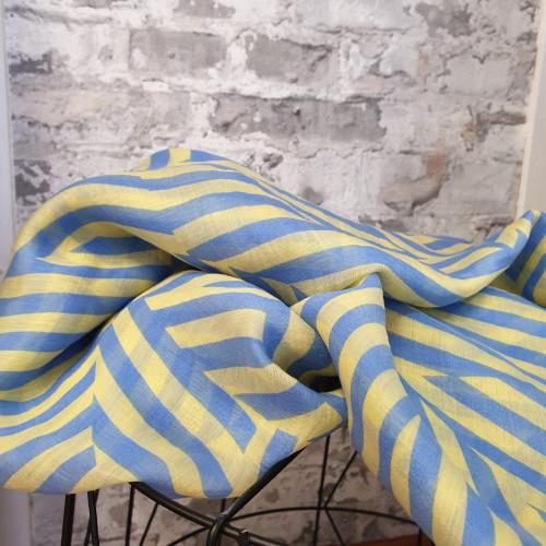 Tencel Blau Gelb Gestreift