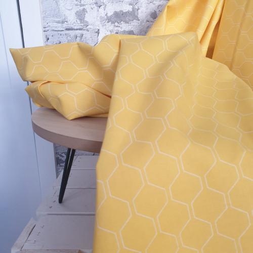 Westfalenstoffe Baumwollstoff Kyoto Wabe gelb
