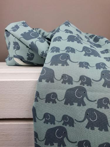 Westfalenstoffe Baumwollstoff Junge Linie Elefanten Mint