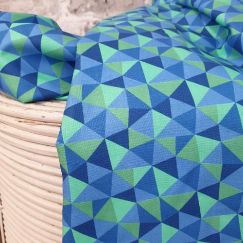 Michael Miller Baumwollstoff Dragons Rule Dreiecke Blau Grün