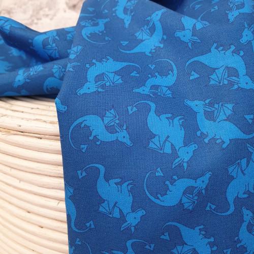 Michael Miller Baumwollstoff Dragons Rule Drachen Blau