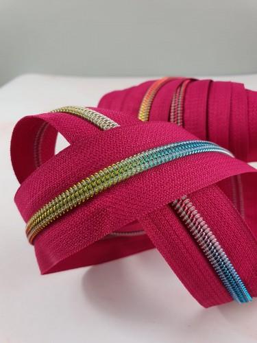 Endlosreißverschluss Metallisiert Pink Spirale Regenbogen