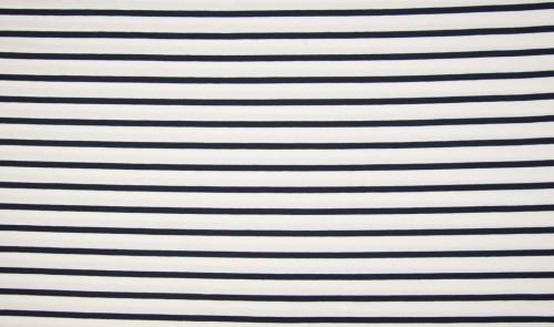 Viskose Jersey Streifen Weiß Navy