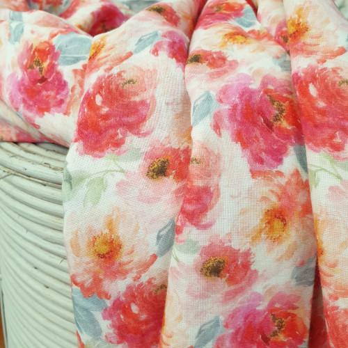 Stenzo Musselin Double Gauze Floral Blumen Groß Rosa