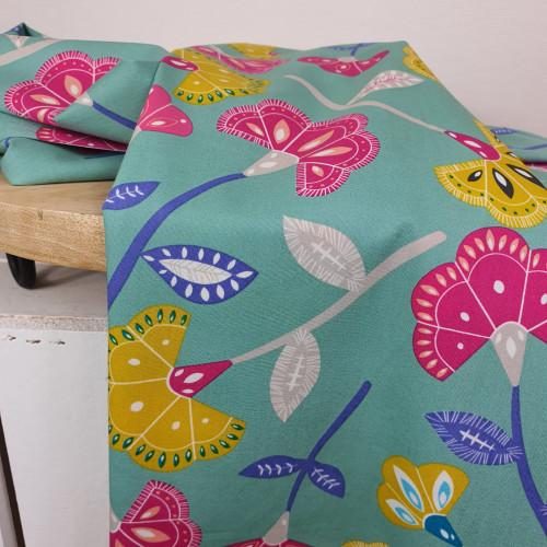 Art Gallery Fabrics Premium Baumwollstoff Craftbound Mint Grün Große Blumen