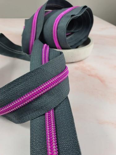 Endlosreißverschluss Metallisiert Grau Pinke Spirale