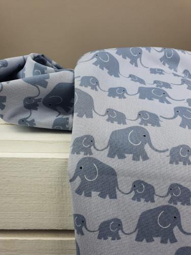 Westfalenstoffe Baumwollstoff Junge Linie Elefanten Grau