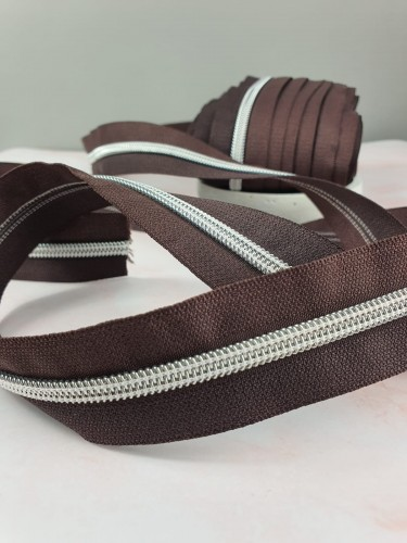 Endlosreißverschluss Metallisiert Braun