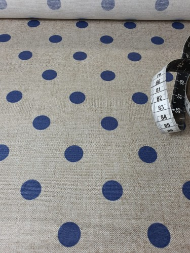 Hilco Beschichtete Baumwolle Beige Blaue Punkte