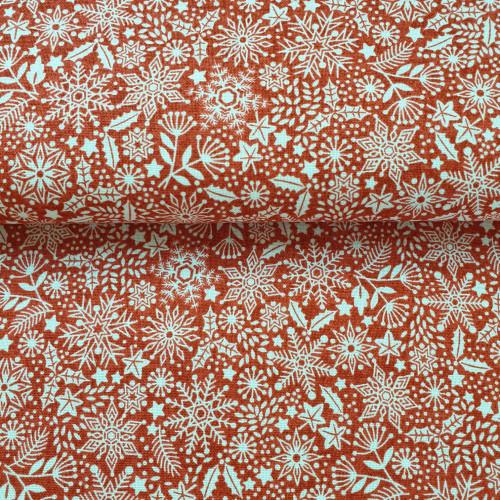 Makower Baumwollstoff Scandi Snowflowers Rot Weiß