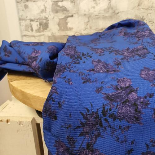 La Maison Victor Viskose Blumen Royal Blau