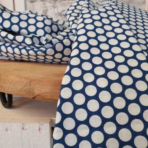 Westfalenstoffe Baumwollstoff Druckstoff Kopenhagen Tupfen Blau