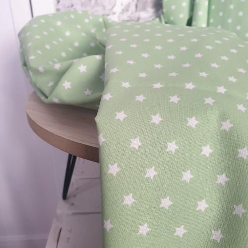 Westfalenstoffe Baumwollstoff Capri Sterne Grün Weiß