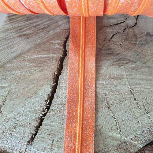 Endlosreißverschluss Orange Glitzer