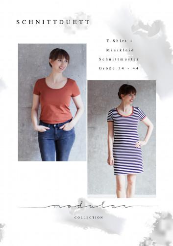 "Schnittduett Schnittmuster T-Shirt und Minikleid ""Modular"""