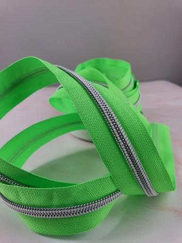 Endlosreißverschluss Metallisiert Neon Grün
