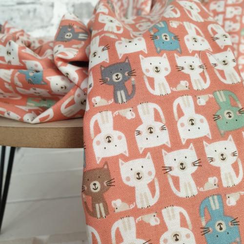 Makower Baumwollstoff Cool Cats Parade