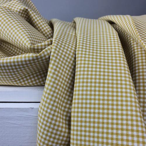 Westfalenstoffe Baumwollstoff Webstoff Vichy Karo Senf Gelb